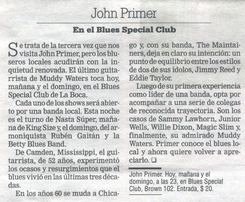 Nasta Super & John Primer en el Blues Special Club